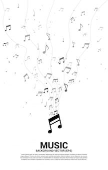 Muziek melodienota dansen stroom verticale sjabloon