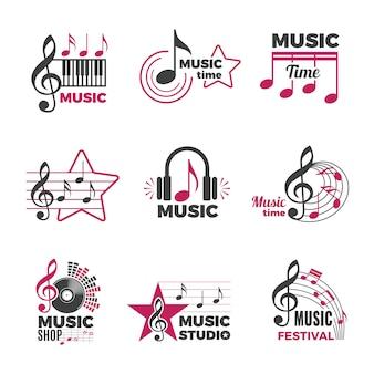 Muziek merkt logo op. badges met lied- en geluidssymbolen audio podcast radio logo's collectie