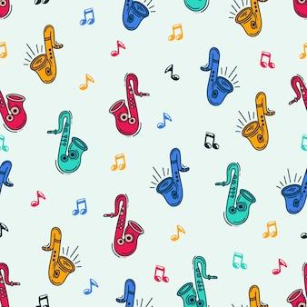 Muziek met achtergrondthema. doodle saxofon-patroonontwerp
