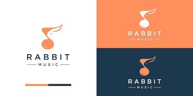 Muziek met konijn logo ontwerp inspiratie negatieve ruimte