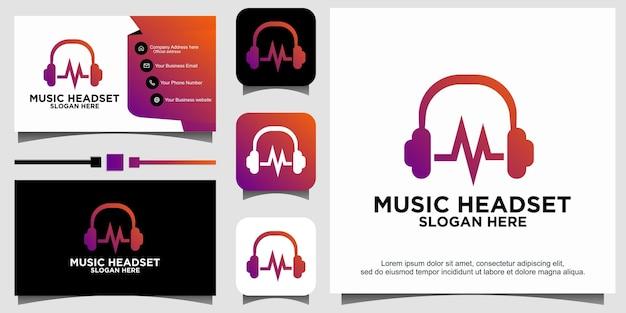 Muziek met logo-ontwerp van headset