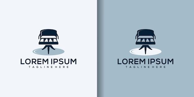 Muziek meubels logo ontwerp pictogram illustratie pictogram geïsoleerd