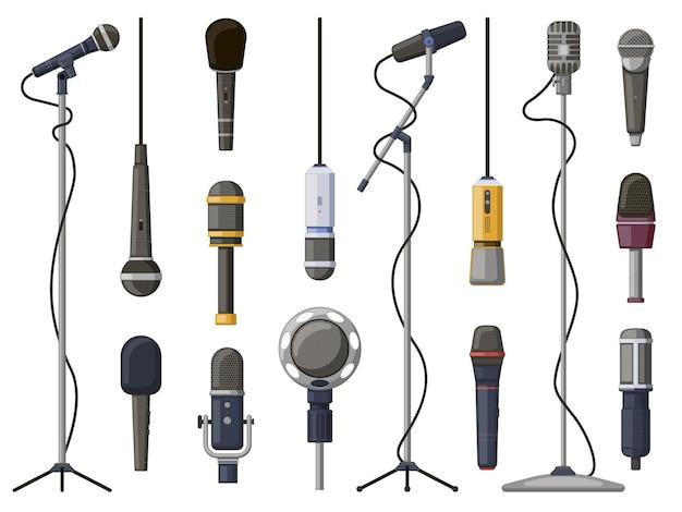 Muziek microfoons. studiogeluid, uitzending of muziekopnameapparatuur, muziekopnametechnologie