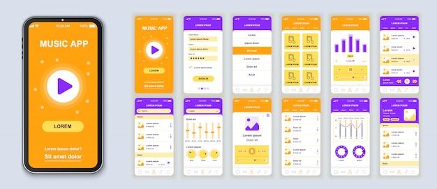 Muziek mobiel app-pakket van ui, ux, gui-schermen voor toepassing
