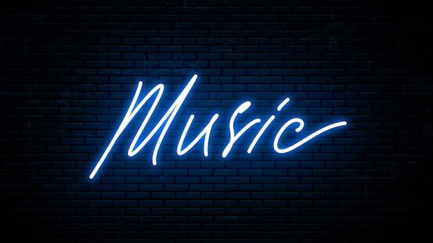 Muziek, neon inscriptie geïsoleerd tegen de muur.
