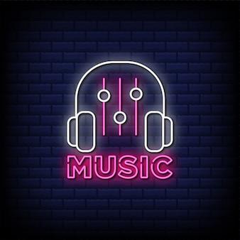 Muziek neon teken stijl tekst met hoofdtelefoonpictogram