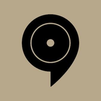 Muziek notitiepictogram, muziek symbool plat ontwerp vectorillustratie
