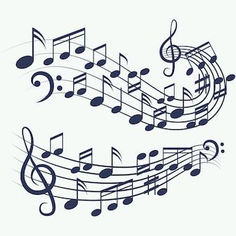 Muziek notities voor muziek achtergrond