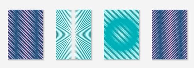 Muziek omslag. gekleurd certificaat, boek, mobiel scherm, uitnodigingsconcept. blauw en paars. muziekhoes met minimalistische geometrische lijn en trendy vormen.