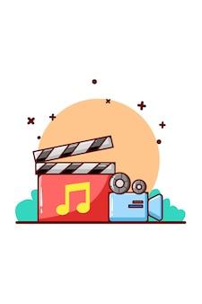 Muziek online en camera video cartoon illustratie
