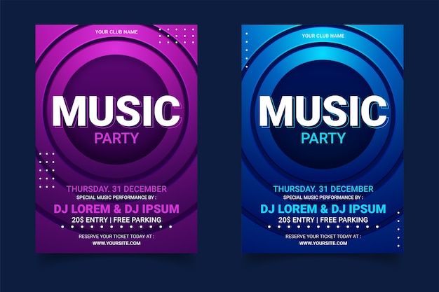Muziek partij poster sjabloonverzameling
