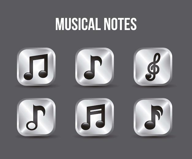 Muziek pictogrammen knoppen over grijze achtergrond vector illustratie