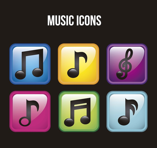 Muziek pictogrammen over zwarte achtergrond vectorillustratie