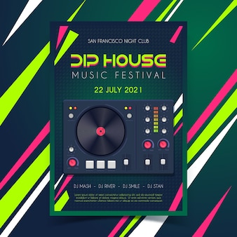 Muziek poster met dj booth