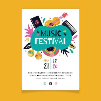 Muziek poster met gitaar en maracas