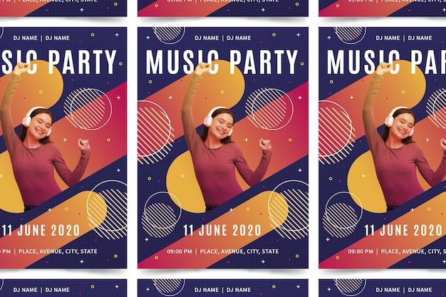 Muziek poster sjabloon met foto