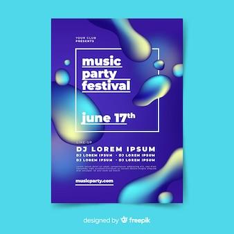 Muziek poster sjabloon met vloeibaar effect