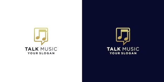 Muziek praten logo ontwerpsjabloon