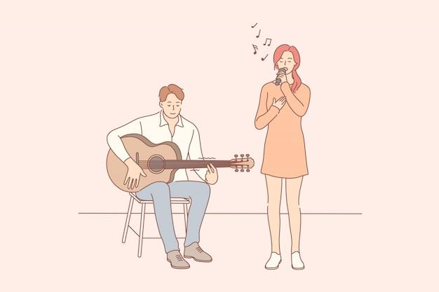 Muziek, prestaties, duet concept