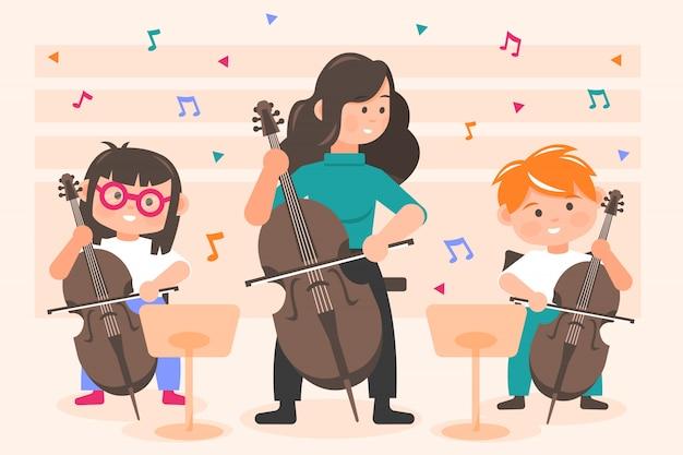 Muziek, prestaties, orkest concept