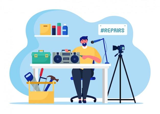 Muziek radio online streaming, mannelijke karakter omroep host geïsoleerd op witte, platte illustratie. videoblog reparatie uitzending.