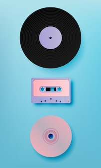 Muziek retro media paer kunststijl vectorillustratie