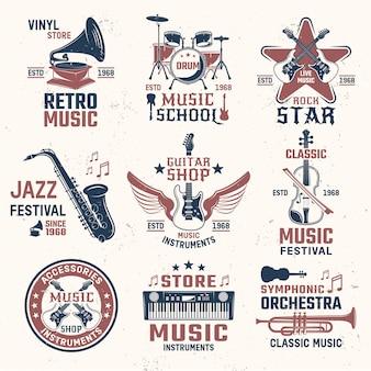 Muziek retro stijl emblemen