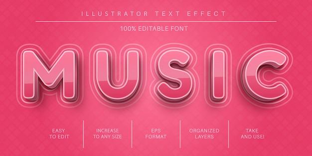 Muziek roze tekststijl, lettertype-effect