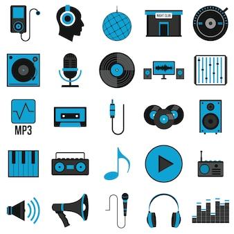 Muziek stel pictogrammen in vlakke stijl
