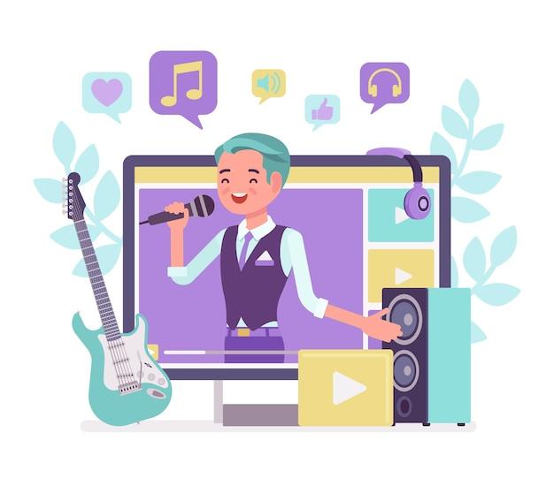 Muziek streamer jongen. jonge knappe man zendt online populaire liedjes uit, creëert inspirerende en vermakelijke muzikale inhoud voor dagboek of dagboek, blogt als hobby en baan. vector illustratie
