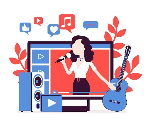 Muziek streamer meisje