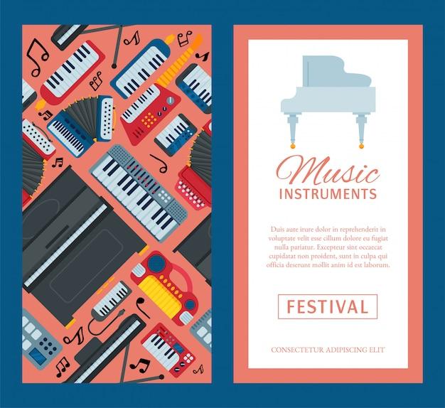 Muziek toetsenbord instrument spelen synthesizer apparatuur flyer.