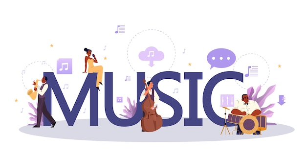 Muziek typografisch concept. moderne rockpop of klassieke artiest, muzikant of componist. jonge artiest die muziek speelt met professionele apparatuur. .