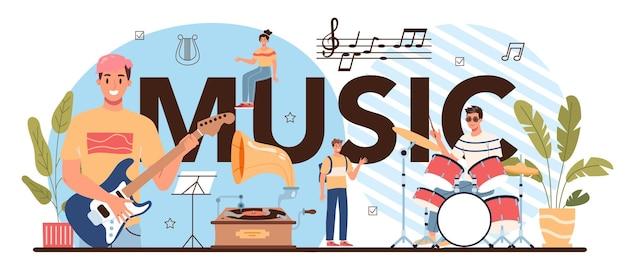 Muziek typografische kop. studenten leren om muziekclub of klas te spelen. jonge muzikant die muziekinstrumenten bespeelt. zang en salfeggio les. platte vectorillustratie