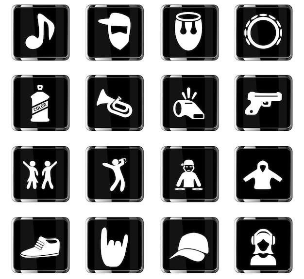 Muziek vector iconen voor gebruikersinterface ontwerp