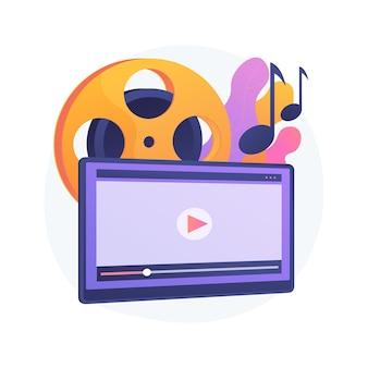Muziek video abstract concept illustratie. officiële videoclip, internet- en tv-première, muziekvideo-productie, professionele regisseur, opnameploeg, promotie van muzikanten