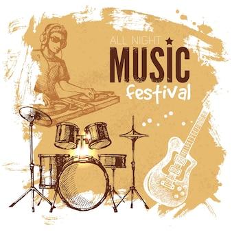 Muziek vintage achtergrond. splash klodder retro ontwerp. muziekfestival affiche. hand getrokken schets vectorillustratie