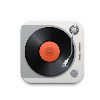 Muziek vinyl schijf speler interface icoon