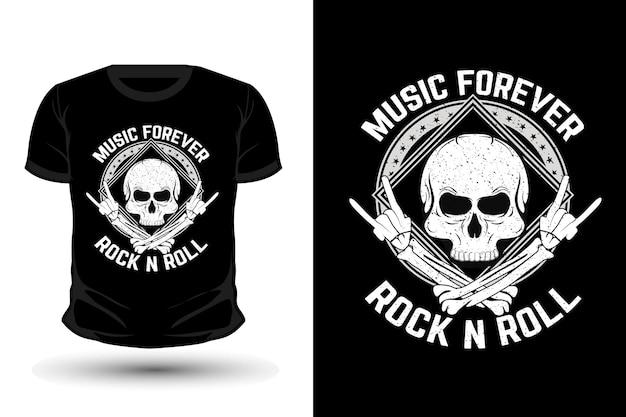 Muziek voor altijd rock n roll merchandise t-shirt ontwerp met schedel