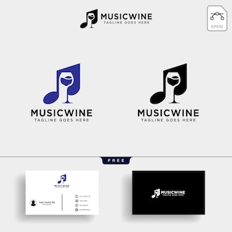 Muziek wijn logo sjabloon illustratie