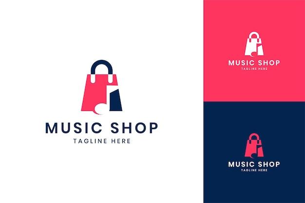 Muziek winkelen negatief ruimte logo-ontwerp
