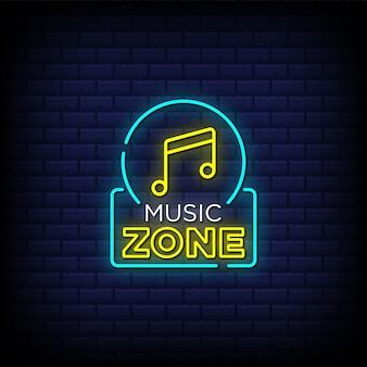 Muziek zone neon teken stijl tekst
