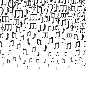 Muziekachtergrond met dalende muzieknoten