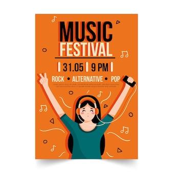 Muziekaffiche met meisje het luisteren muziek op hoofdtelefoons wordt geïllustreerd die