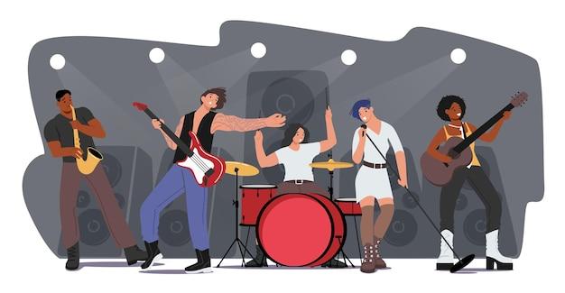 Muziekband die rockconcert op scène uitvoert. kunstenaarspersonages met muziekinstrumenten, meisjeszang, gitaar en saxofonist begeleiden. talentenshow op het podium. cartoon mensen vectorillustratie