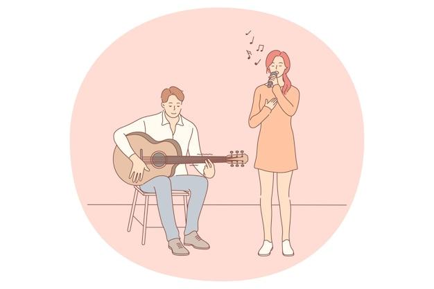Muziekband, gitaar spelen, zanger concept