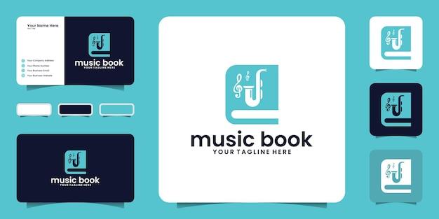 Muziekboek logo ontwerp inspiratie en visitekaartje