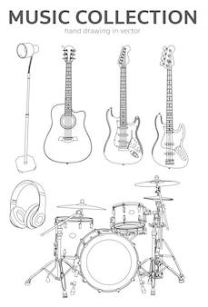 Muziekcollectie hand tekenen