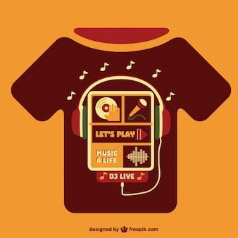 Muziekconcept t-shirt sjabloon