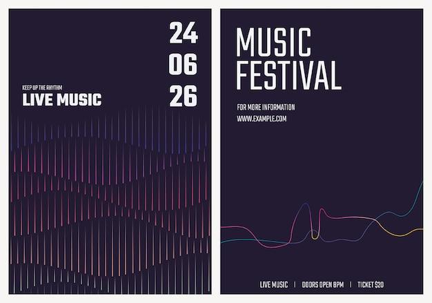 Muziekconcert postersjabloon met geluidsgolfafbeeldingen voor advertentieset